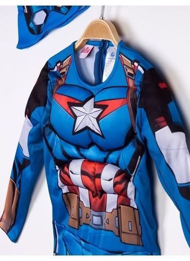 MARVEL Kaptan Amerika Lisanslı Kaslı Çocuk Kostüm Saks